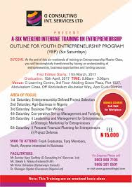 a six weekend intensive training on entrepreneurship program g a six weekend intensive training on entrepreneurship program