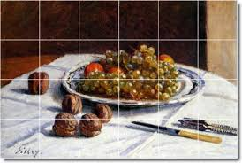 Alfred <b>Sisley</b> Fruit Vegetables Kitchen Tile Mural 16 17x25 5 Inches ...