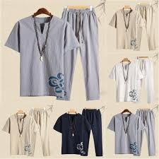 Summer Men's Fashion Casual Printing Cotton-Hemp Short Sleeve ...