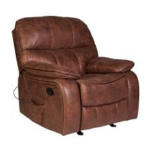 Wesson Saddle <b>Brown Faux Leather Massage</b> Rocker <b>Recliner</b>