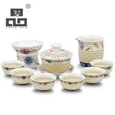 <b>TANGPIN</b> blue and white <b>ceramic teapot gaiwan</b> tea cup for puer ...