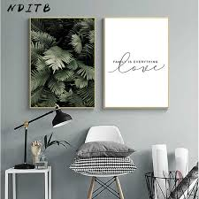 <b>Watercolor Plant</b> Leaves Canvas Poster Wall Art Print Painting ...