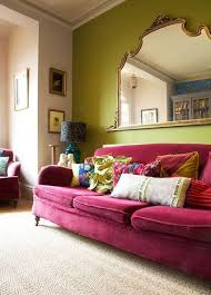 really want a green accent wall in my huge living room and a red sofa burnt red home office