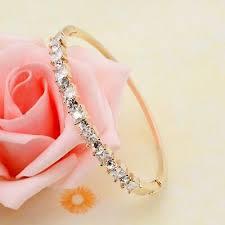 <b>Luxury</b> Square <b>Cubic Zirconia</b> Gold Filled Bangle Bracelet Women ...