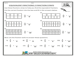 Equivalent Fractions-Fraction Strips 3rd - 4th Grade Worksheet ...Equivalent Fractions-Fraction Strips