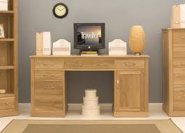 conran solid oak twin pedestal computer desk baumhaus hidden home office 2