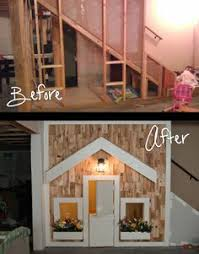 this is the girls side complete with a dutch door porch light and window flower boxes sometimes it is a playhouse while other times it adi nag sleeping porch