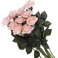 Pauwer 12PCS <b>Moisturizing</b> Real Touch Latex <b>Artificial Rose Flower</b>