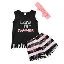 3 pieces <b>long Live Summer</b> Print Tanks Shorts and Headband Set ...