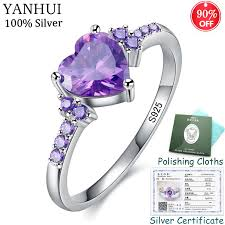 Sent Certificate! 925 Solid Silver Heart Ring Fashion <b>Purple Crystal</b> ...