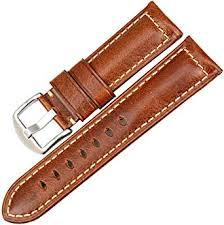 <b>MAIKES</b> Vintage Oil Wax Leather Watch Band Light Brown <b>22mm</b> ...