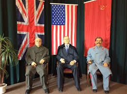 doubts about crimea s future as part of russia linger in yalta wax figures depict british prime minister winston churchill us president franklin d roosevelt and