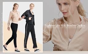LilySilk Silk Jacket Women Bomber Pure Mulberry ... - Amazon.com