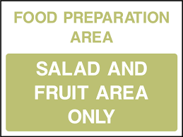 salad and fruit area sign health and safety signs