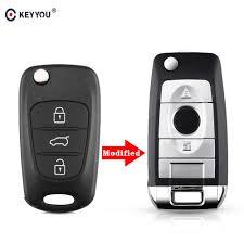 KEYYOU <b>3 Buttons</b> Modified Car Flip <b>Folding</b> Key Shell <b>Remote</b> Fob ...