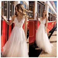 <b>LORIE Beach Wedding Dress</b> 2019 Side Split Top Lace Boho Bride ...