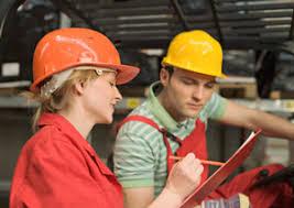 vocational rehabilitation on the job training w in hard hat photo
