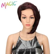 <b>MAGIC Hair</b> Short Synthetic <b>Straight Wigs</b> For Women 12 Inch Black ...