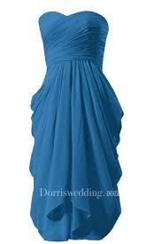 Strapless <b>Ruched</b> Bodice Knee-length Layered <b>Pleated Chiffon</b> Dress