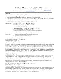 postdoctoral research applicant materials science 427 campus walk ave research resume template