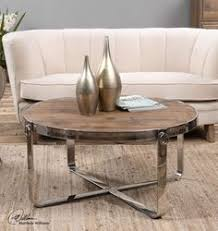 round wood and stainless steel coffee table 84400 httpwwwrbghomestorecomberdine round wood and stainless steel coffee table bargu mango wood side table