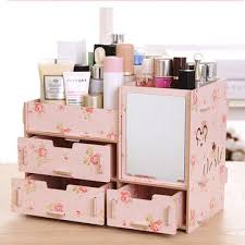 desktop storage case <b>wooden</b> cosmetic drawer <b>makeup organizer</b> ...