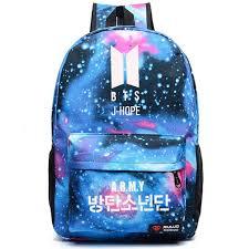 2018 New <b>BTS</b> J HOPE <b>JIN Printing</b> Backpack Canvas School Bags ...