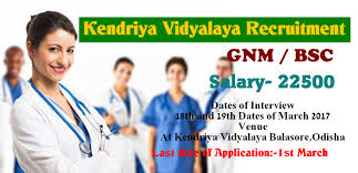 nurses job vacancy kendriya vidyalaya recruitment latest kendriya vidyalaya recruitment 2017 latest staff nurse jobs for gnm b sc nursing