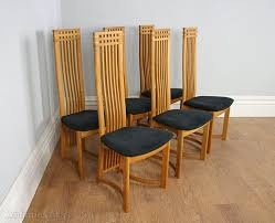 six actona art deco oak high back dining chairs art deco mid century dining