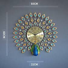 GFL Clocks Creative Peacock Wall Clock Metal ... - Amazon.com