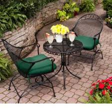 wrought iron outdoor wrought iron bistro set w free green cushions black wrought iron patio