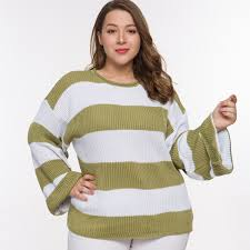2019 <b>Laughido Plus Size</b> Striped Knitted Sweaters Women Loose ...