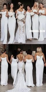 White <b>Elegant Spaghetti Straps Chiffon</b> Floor-Length Bridesmaid ...