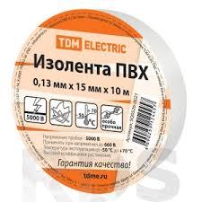 <b>Изолента ПВХ 0</b>,13*<b>15мм Белая 10м</b> TDM SQ0526-0021 - купить ...
