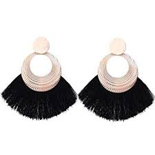 HYhy Fan <b>Tassel</b> Earrings Boho Large Hoop Earrings <b>Fringe</b> ...