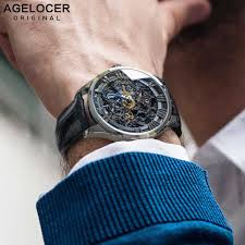 <b>AGELOCER</b> Reloj 2018 Swiss Black <b>Skeleton</b> Men Watch Leather ...