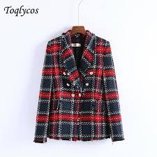 <b>women chic plaid tweed</b> blazer pockets fringe tassel long sleeve ...