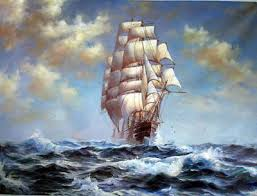 CHENPAT424 <b>big</b> sail boat ship ocean wave art <b>hand</b>-<b>painted</b> oil ...
