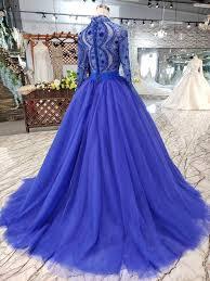<b>Elegant Blue</b> Tulle Deep V Neck Long Sleeve <b>Beads</b> Ball Gown ...