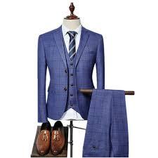 (Jacket+Vest+Pants) 2018 <b>High quality Men</b> Suits Fashion grid ...