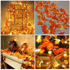 <b>10M</b>+<b>100LED</b> Lighted Autumn Fall Pumpkin Maple <b>Leaves</b> Garland ...