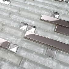 glass metal white kitchen backsplash tile strip silver stainless steel mixed clear glass mosaic tiles for kitche