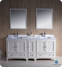 traditional style antique white bathroom:  oxford quot double sink bathroom vanity antique white finish