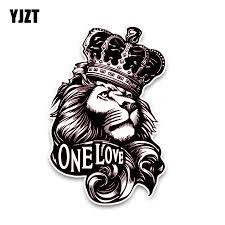 YJZT 10*15.3CM <b>One Love</b> Lion Crown PVC High Quality Animal ...