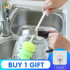 <b>MSJO Glass Cleaning</b> Brush Long Handle Spin Scrubber Bottle ...