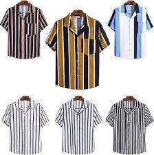 <b>Summer Men</b> Shirt Pocket Short Sleeve <b>Turn-Down Collar</b> Multi ...