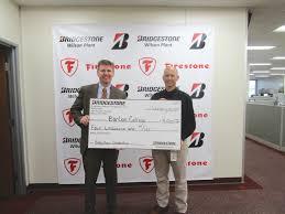 bridgestone donates to whirligig park barton college the wilson michael darr bridgestone americas wilson plant manager presents a 4 000 donation to barton college