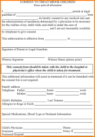 medical authorization form card authorization  medical authorization form consent to treat minor children png