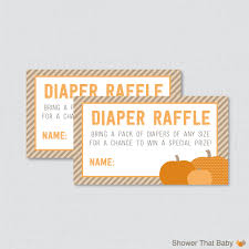 little pumpkin baby shower diaper raffle ticket cards and 128270zoom