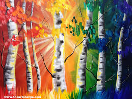 tree wall decor art youtube: rainbow birch tree forest painting tutorial this easy painting idea on canvas with sign language